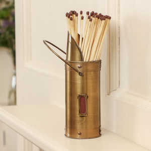 Personalised Brass Fireside Match Holder With Matches - personalised