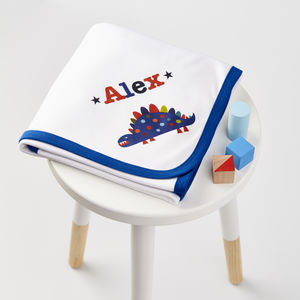 Boys Personalised Blue Trim Baby Blanket