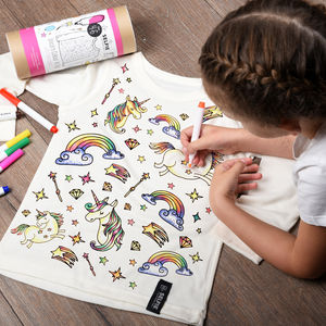 Personalised Unicorn Colour In Top With Fabric Pens - best gifts for girls