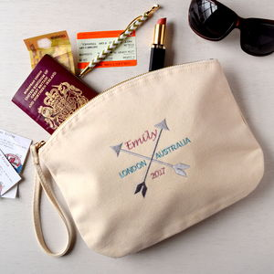 Personalised Embroidered Travel Pouch