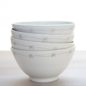 Handmade Porcelain Daisy Breakfast Bowl - dining room