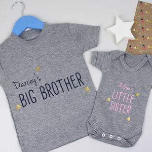 Brother And Sister Baby Grow And T Shirt Set - clothing