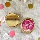 Personalised Round Rose Gold Compact Mirror
