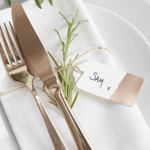 Dipped Rose Gold Foiled Wedding Luggage Tags - on trend: botanical