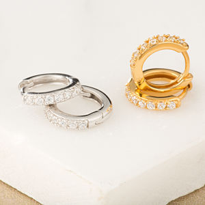 Huggie Hoop Earrings With Clear Stones - bridal edit