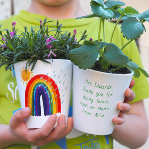 Rainbow Personalised Teacher Plant Pot Gift