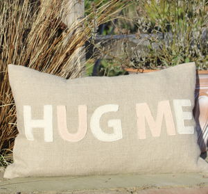 'Hug Me' Linen Cushion Cover - embroidered & beaded cushions