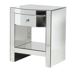 Curved Drawer Mirrored Bedside Table - bedroom