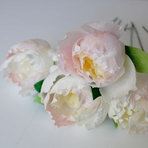 Ivory Paper Peony Bouquet - artificial flowers