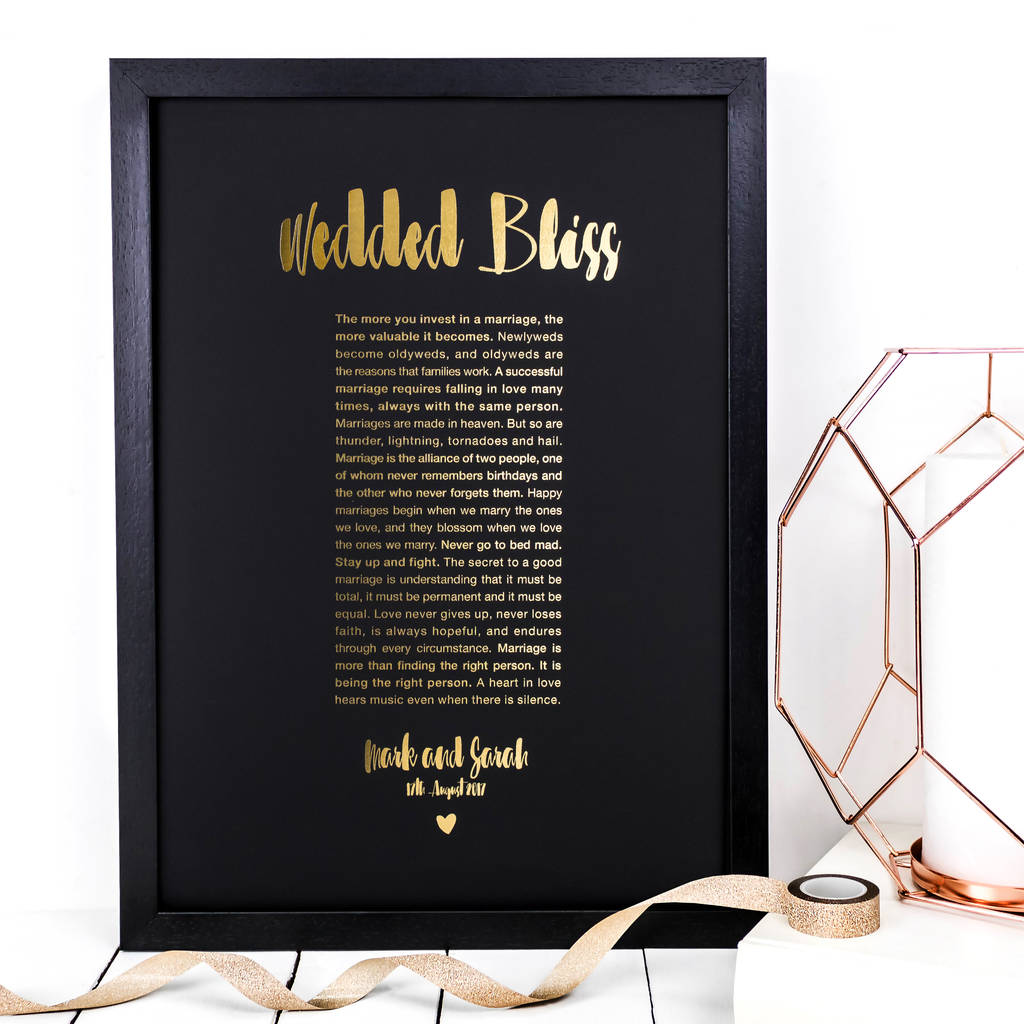 Personalised Wedding Gift; Wedded Bliss Foil Print
