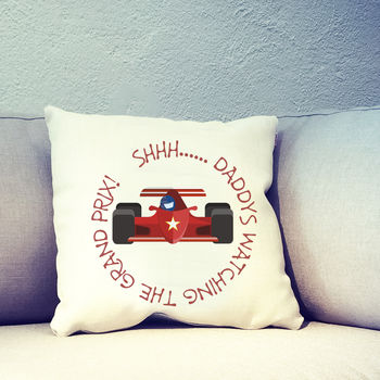 Personalised Fathers Day Car Racing Cushion Cover