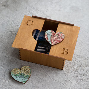 Personalised Map Heart Treasured Location Keepsake Box - cufflink boxes & coin trays
