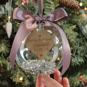 Personalised Engagement Christmas Bauble