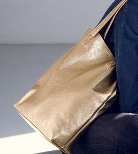 Metallic Leather Tote Bag
