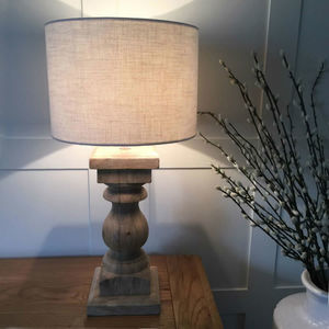 Natural Wood Table Lamp And Natural Drum Woven Shade - lighting