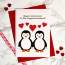 Large personalised anniversary card - 'Penguins In Love'