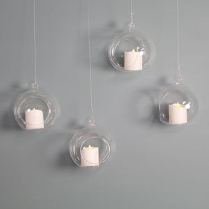 Set Of Four Clear Glass Bauble Hanging Tealight Holders
