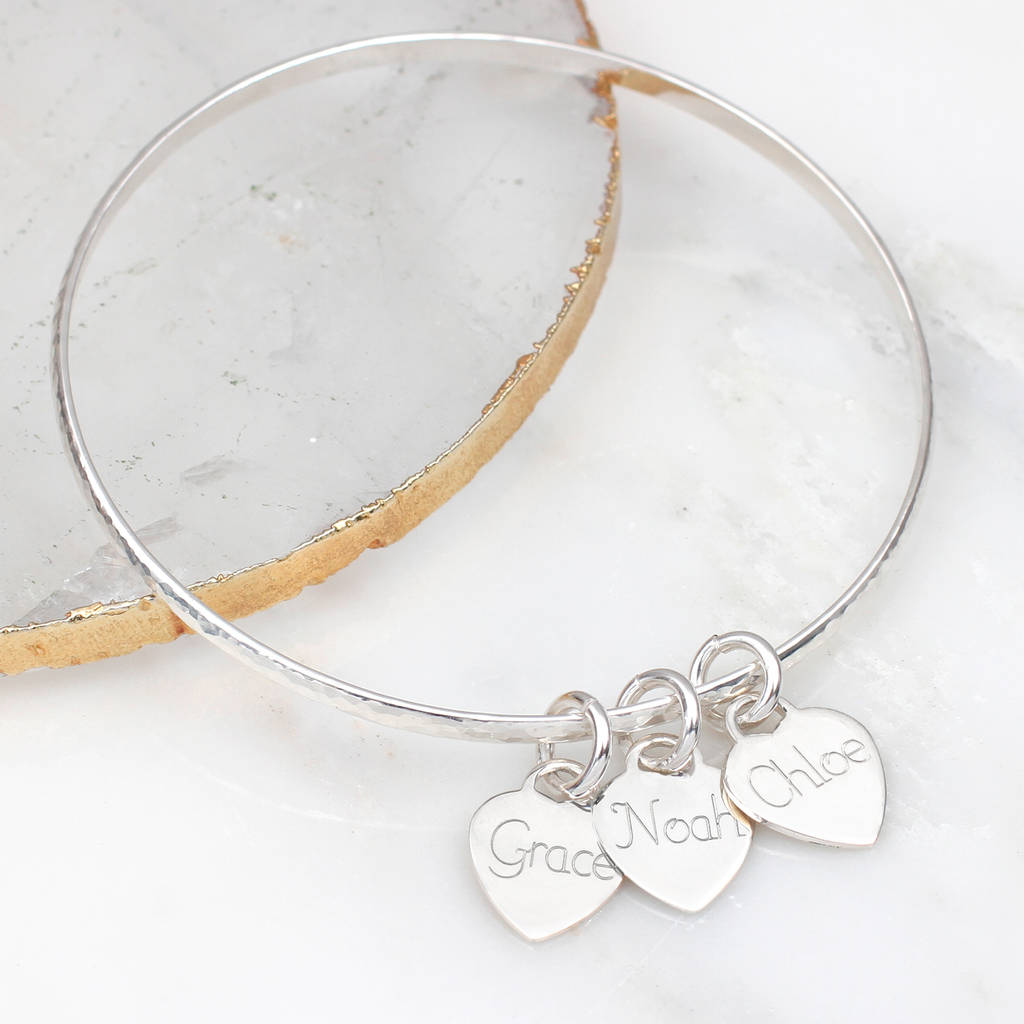 e22b3737b53f5 Personalised Sterling Silver Loved Ones Heart Bangle