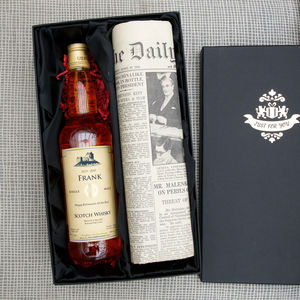 Personalised Scotch Whisky And Newspaper Set - 70th birthday gifts