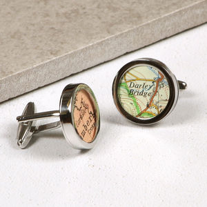 Personalised Map Wedding Anniversary Silver Cufflinks