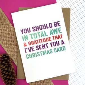 Merry Christmas You Should Be In Awe Greetings Card - christmas cards: packs