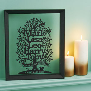 Personalised Family Oak Tree Papercut With Motto - gifts for families