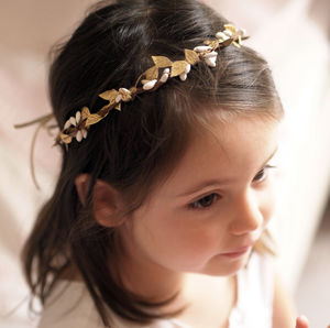 Imelda Gold Boho Flower Girl Crown