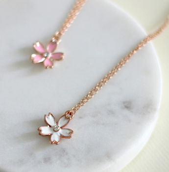 Blossom Enamel Charm And Rose Gold Fill Necklace