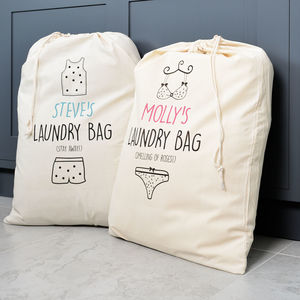 Personalised His And Hers Laundry Bag Set