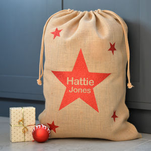 Personalised Metallic Star Hessian Christmas Sack - view all decorations