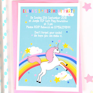 Rainbow Unicorn Personalised Birthday Party Invitations