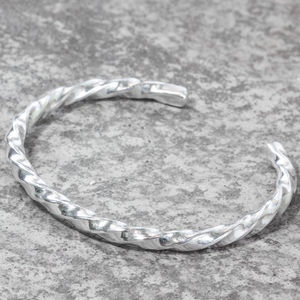 Sterling Silver Chunky Twisted Torque Bangle - bracelets & bangles