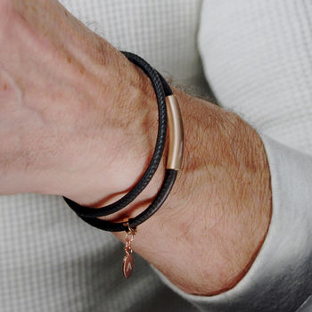 Personalised Men's Leather Bracelet With Rose Gold