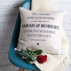 Diamond Wedding Anniversary Cushion Cover - living room