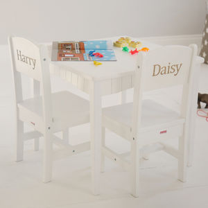 Personalised White Table And Chairs