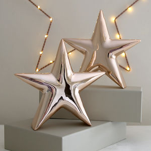 Copper Ceramic Star Decoration - christmas home accessories