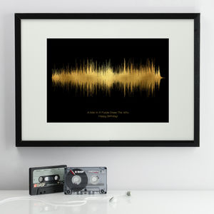 Personalised Metallic Style Sound Wave Print - posters & prints