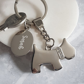Personalised Diamanté Dog Keyring