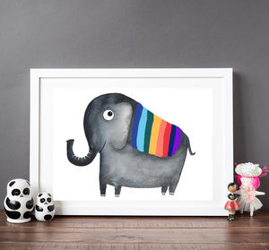Rainbow Elephant Children's Print