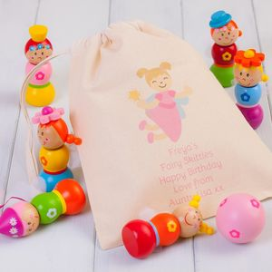 Children's Wooden Fairy Skittles And Personalised Bag - games