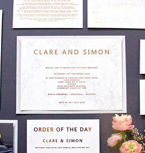 Marble And Gold Wedding Invitation - wedding stationery