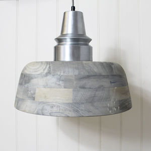 Greyed Wood Ceiling Light - pendant lights