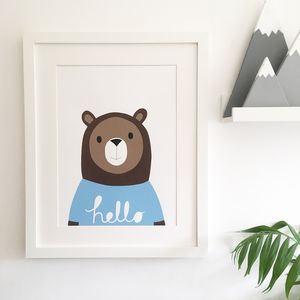 Hand Screen Printed 'Oh Hello Bear' - posters & prints for children