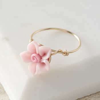 Pink Rose Flower Ring