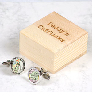 Personalised Silver Map Cufflinks And Box For Him