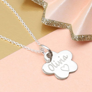 Girl's Personalised Sterling Silver Flower Necklace - more