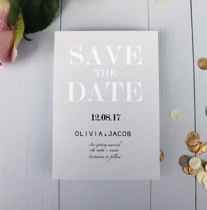 Modern Traditional Save The Date Card - table decorations