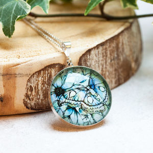 Atlas Moth In Opal Botanical Sterling Silver Necklace