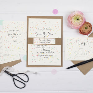 Confetti Watercolour Wedding Invitation Set