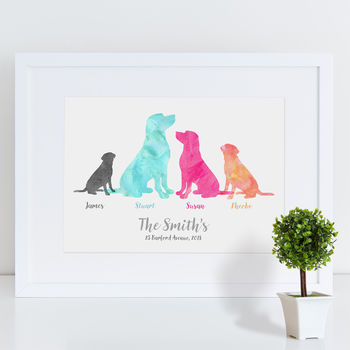 Labrador Dog Family Watercolour Personalised Print